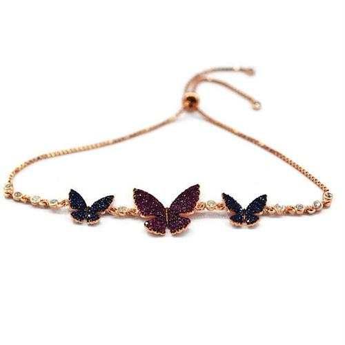Beyazıt Takı 925 Ayar Gümüş Mavi Pembe Taşlı Kelebek Bileklik