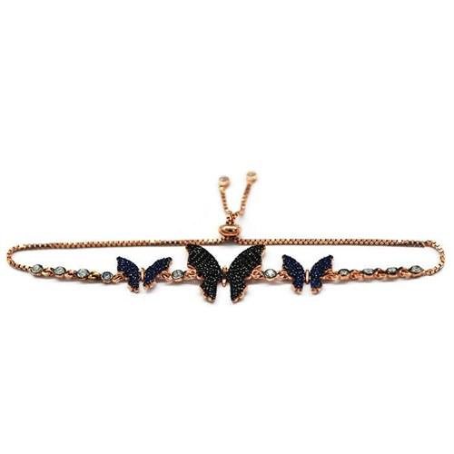 Beyazıt Takı 925 Ayar Gümüş Siyah Mavi Kelebek Bileklik