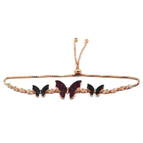 Beyazıt Takı 925 Ayar Gümüş Pembe Siyah Kelebek Bileklik