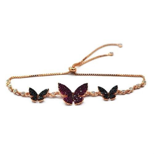 Beyazıt Takı 925 Ayar Gümüş Siyah Pembe Taşlı Kelebek Bileklik