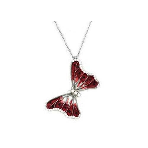 Beyazıt Takı 925 Ayar Gümüş Beyaz Taşlı Kelebek Kolyesi