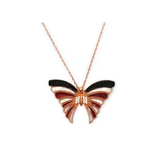 Beyazıt Takı 925 Ayar Gümüş Siyah Kırmızı Mineli Kelebek Kolyesi