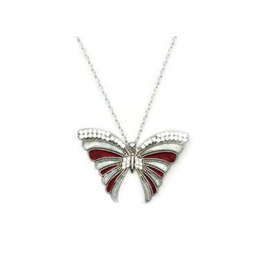 Beyazıt Takı 925 Ayar Gümüş Beyaz Kırmızı Mineli Kelebek Kolyesi