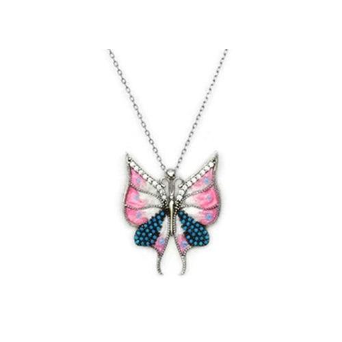 Beyazıt Takı 925 Ayar Gümüş Turkuaz Taşlı Kelebek Kolyesi