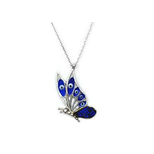 Beyazıt Takı 925 Ayar Gümüş Mavitaşlı Kelebek Kolyesi