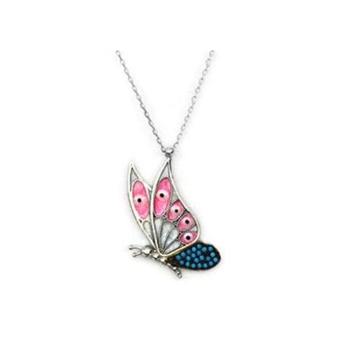 Beyazıt Takı 925 Ayar Gümüş Turkuaztaşlı Kelebek Kolyesi