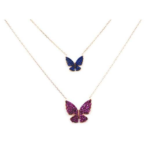 Beyazıt Takı 925 Ayar Gümüş Mavi Pembe İkili Kelebek Kolye