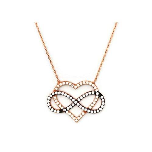 Beyazıt Takı 925 Ayar Gümüş Beyaz Kalp İçinde Sonsuzluk Kolyesi