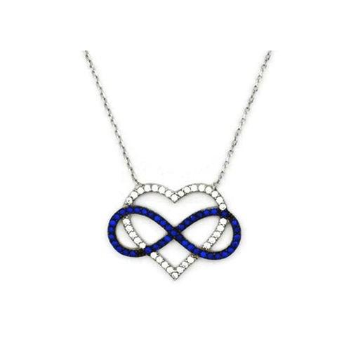 Beyazıt Takı 925 Ayar Gümüş Mavi Kalp İçinde Sonsuzluk Kolyesi