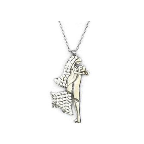 Beyazıt Takı 925 Ayar Gümüş Beyaz Gelini Kucaklayan Damat Kolyesi