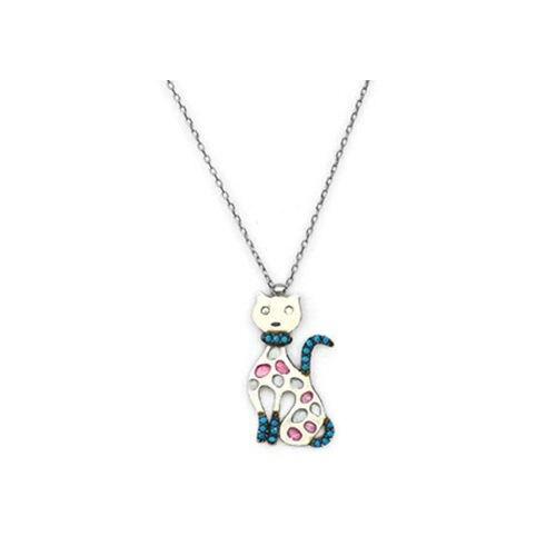Beyazıt Takı 925 Ayar Gümüş Turkuaz Taşlı Kedi Kolye