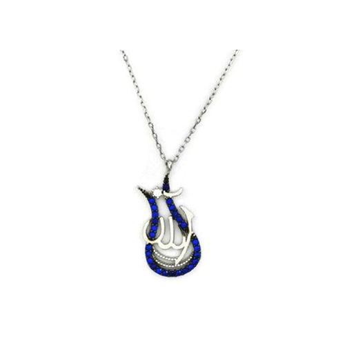 Beyazıt Takı 925 Ayar Gümüş Mavi Allah Yazılı Laleli Kolye