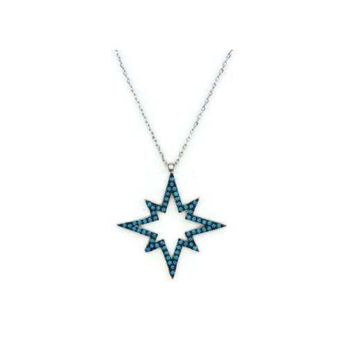 Beyazıt Takı 925 Ayar Gümüş Turkuaz Kutup Yıldızı Kolyesi