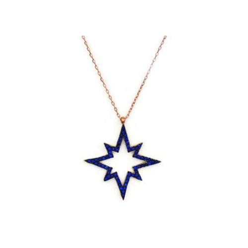 Beyazıt Takı 925 Ayar Gümüş Mavi Kutup Yıldızı Kolyesi