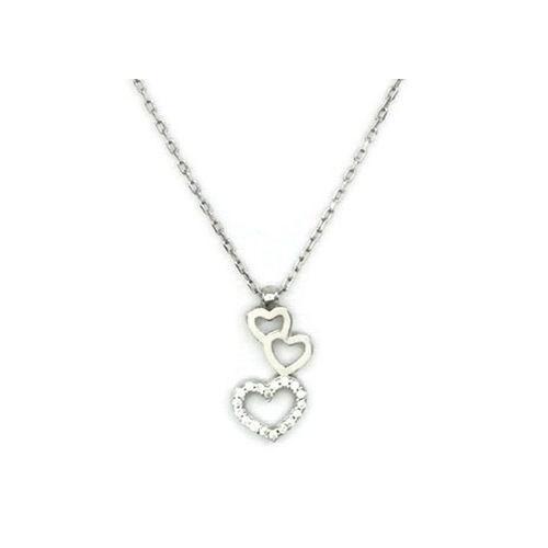Beyazıt Takı 925 Ayar Gümüş Beyaz Zirkon Taşlı Üç Kalpli Kolye