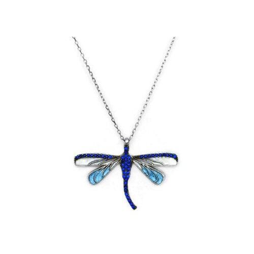 Beyazıt Takı 925 Ayar Gümüş Mavi Taşlı Yusufçuk Kolyesi