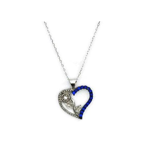 Beyazıt Takı 925 Ayar Gümüş Mavi Taşlı Kalbimin Gülü Kolyesi