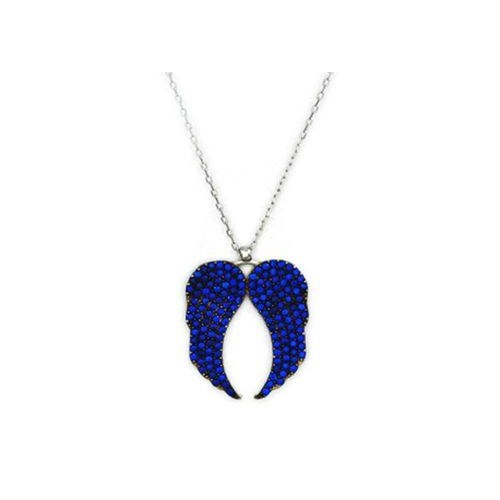 Beyazıt Takı 925 Ayar Gümüş Mavi Taşlı Melek Kanadı Kolye