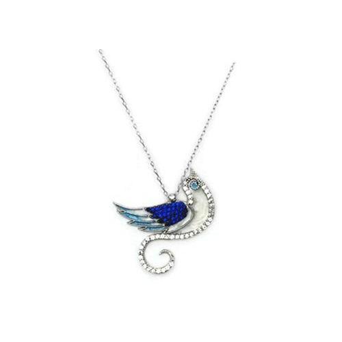 Beyazıt Takı 925 Ayar Gümüş Mavi Zümrüdü Anka Kuşu Kolyesi