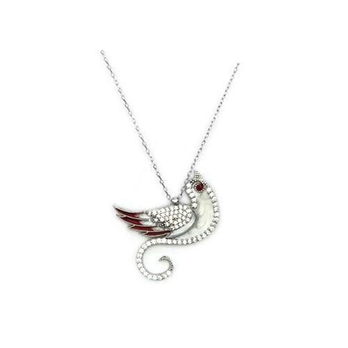 Beyazıt Takı 925 Ayar Gümüş Beyaz Zümrüdü Anka Kuşu Kolyesi