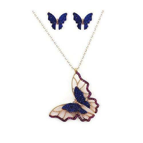 Beyazıt Takı Mavi Kelebek Kolye Ve Küpe Kombin