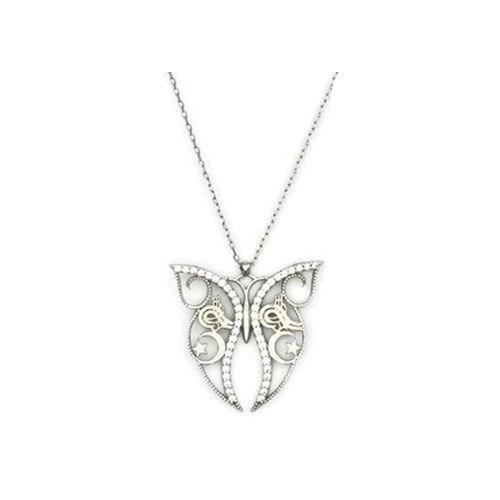 Beyazıt Takı 925 Ayar Gümüş Beyaz Osmanlı Tuğralı Ay Yıldızlı Kelebek Kolye