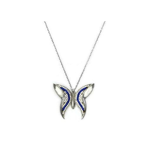 Beyazıt Takı 925 Ayar Gümüş Beyaz Mavi Taşlı Sedefli Kelebek Kolye
