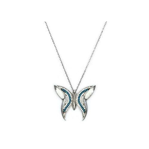 Beyazıt Takı 925 Ayar Gümüş Turkuaz Taşlı Sedefli Kelebek Kolye