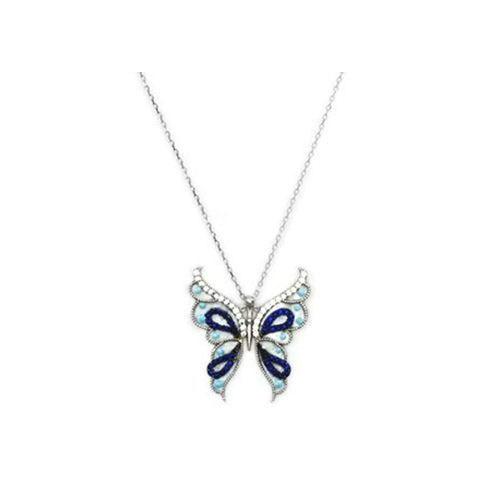 Beyazıt Takı 925 Ayar Gümüş Mavi Sedef Kelebek Kolyesi