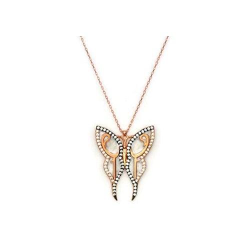 Beyazıt Takı 925 Ayar Gümüş Beyaz Vav Kelebek Kolye