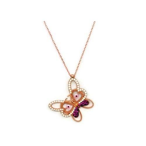Beyazıt Takı 925 Ayar Gümüş Rose Pembe Sedefli Kelebek Kolye