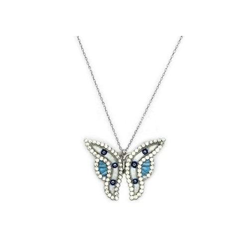 Beyazıt Takı 925 Ayar Gümüş Sedefli Nazar Boncuklu Kelebek Kolye