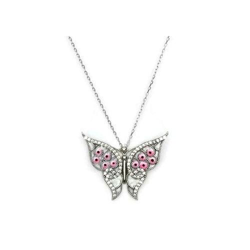 Beyazıt Takı 925 Ayar Gümüş Beyaz Sedef Kelebek Kolye