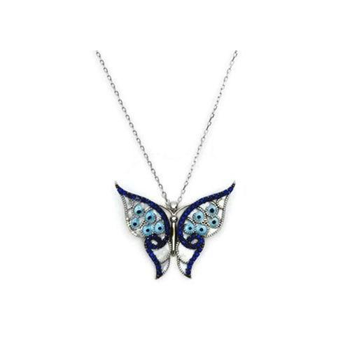 Beyazıt Takı 925 Ayar Gümüş Mavi Sedef Kelebek Kolye