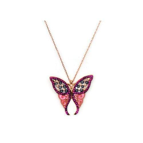 Beyazıt Takı 925 Ayar Gümüş Nazar Boncuklu Pembe Taşlı Kelebek Kolye