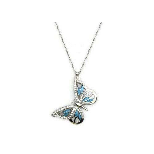 Beyazıt Takı 925 Ayar Gümüş Zirkonlu Kelebek Kolyesi