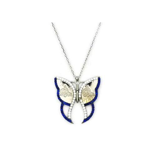 Beyazıt Takı 925 Ayar Gümüş Mavi Tuğralı Kelebek Kolye