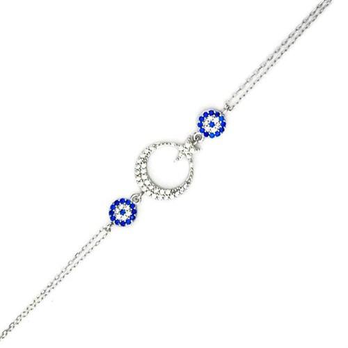 Beyazıt Takı 925 Ayar Gümüş Nazar Boncuklu Ayyıldızlı Bileklik