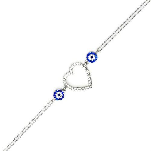 Beyazıt Takı 925 Ayar Gümüş Nazar Boncuklu Kalpli Bileklik