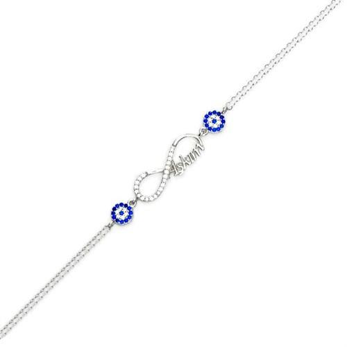 Beyazıt Takı 925 Ayar Gümüş Nazar Boncuklu Taşlı Sonsuzluk Aşkım Bileklik