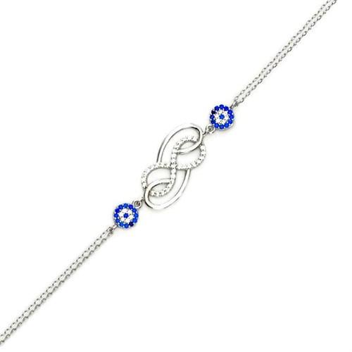 Beyazıt Takı 925 Ayar Gümüş Nazar Boncuklu Çift Sonsuzluk Bileklik