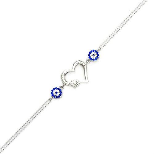 Beyazıt Takı 925 Ayar Gümüş Nazar Boncuklu Kalpli Çiçekli Bileklik
