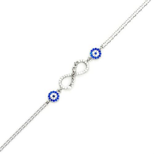 Beyazıt Takı 925 Ayar Gümüş Nazar Boncuklu Sonsuzadek Bileklik