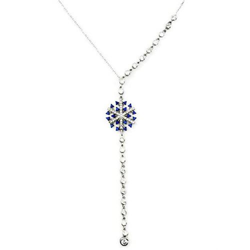 Beyazıt Takı 925 Ayar Gümüş Su Yolu Mavi Taşlı Kar Tanesi Kolye