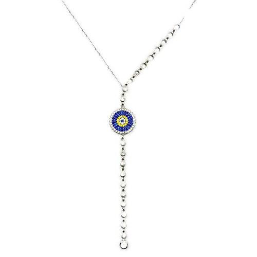 Beyazıt Takı 925 Ayar Gümüş Nazar Boncuklu Su Yolu Kolye