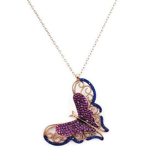 Beyazıt Takı 925 Ayar Gümüş Üç Boyutlu Mavi Pembe Kelebek Kolyesi