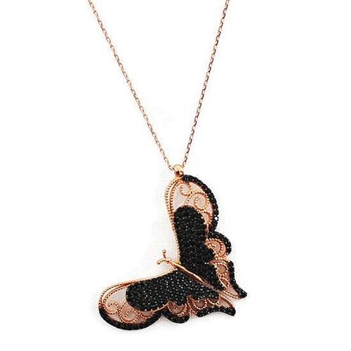 Beyazıt Takı 925 Ayar Gümüş Üç Boyutlu Siyah Kelebek Kolyesi