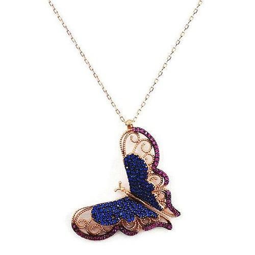 Beyazıt Takı 925 Ayar Gümüş Üç Boyutlu Pembe Mavi Kelebek Kolyesi