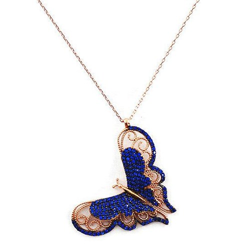 Beyazıt Takı 925 Ayar Gümüş Üç Boyutlu Mavi Kelebek Kolyesi
