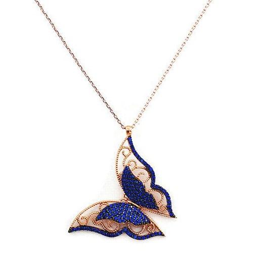 Beyazıt Takı 925 Ayar Gümüş Mavi Üç Boyutlu Kelebek Kolyesi